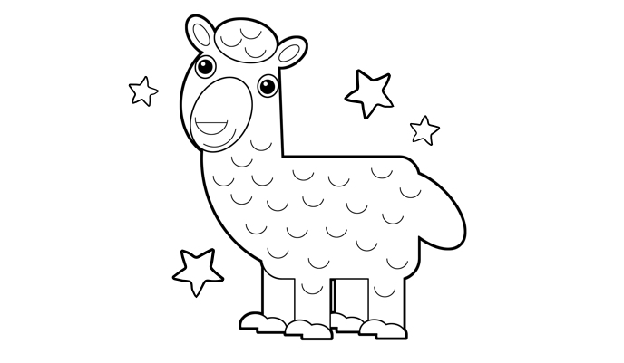 Lama colouring in sheet
